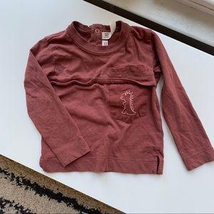 Zara embroidered pocket long sleeve tee